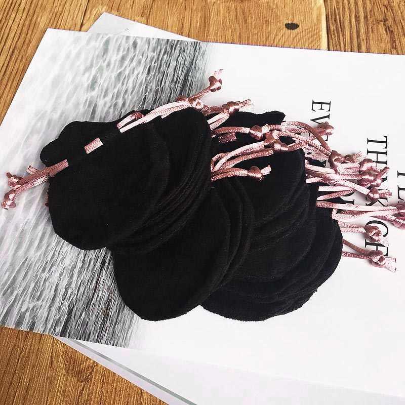 구슬 매력 팔찌 목걸이에 대 한 1pcs 핑크 리본 플 란 넬 가방 파우치 여성 원래 유럽 보석 블랙 외부 포장