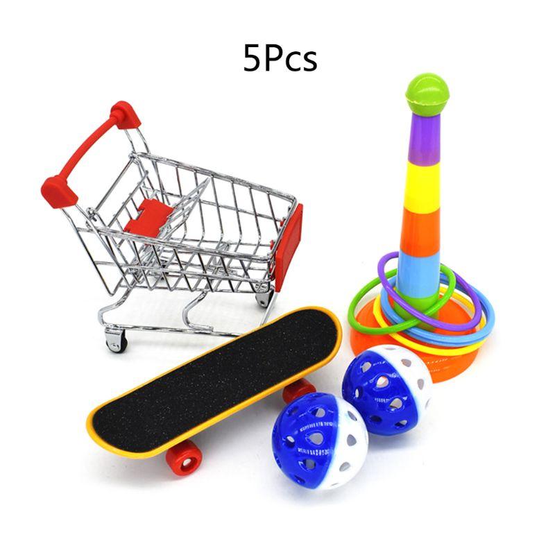 5 шт./компл. обучающие игрушки для попугаев, мини-корзина для покупок, тренировочные кольца стойка для скейтборда 95AA