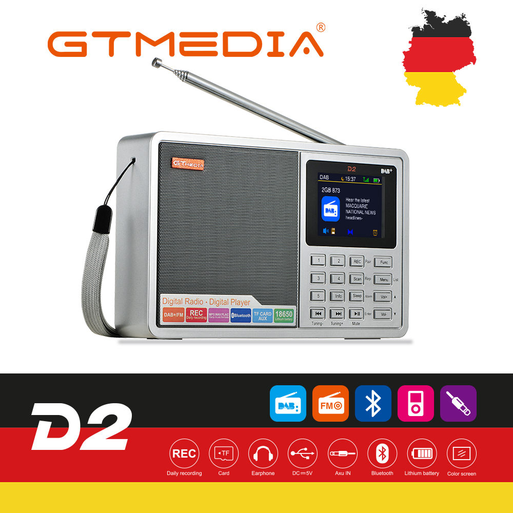 GTMEDIA D2 Portable Radio FM DAB stereo/ RDS Multi Band Radio Speaker with LCD Display Alarm Clock Support Micro SD TF Card