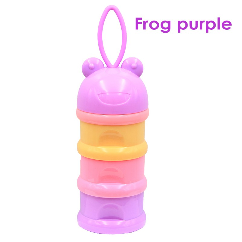 Toddle Kids Formula Milk Container 3 Layer Frog Style Portable Baby Food Storage Box Essential Grains Cartoon Milk Powder Boxes