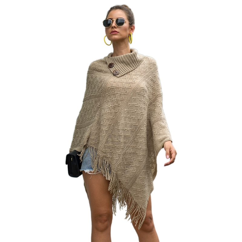 Women Lapel Buttons Poncho Cape Solid Color Knitted Diamond Plaid Shawl Scarf Fringe Tassels Pullover Batwing Sweater