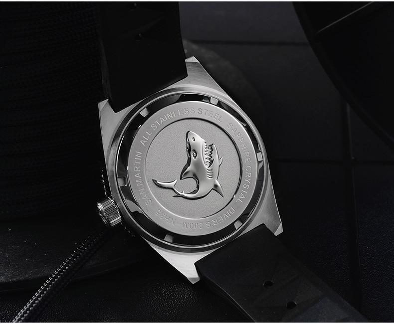 Image 5 - 62MAS Мужские автоматические часы из нержавеющей стали для дайвинга 200 м водостойкий керамический Безель Сан Мартин модные наручные часы NH35-in Механические часы from Ручные часы on AliExpress