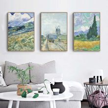 Van Gogh Wheat Field Landscape Canvas Painting Green Ldyllic Scenery Wall Art Posters Famous Oil Painting for Living Room Decor