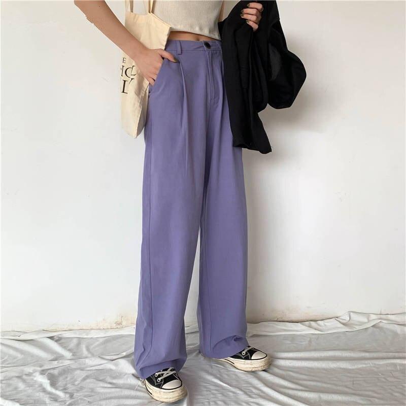 2020 Spring Women Elegant Long Loose Pants Vintage Lady High Waist Wide Leg Pants Female Casual Street Pants Bottoms