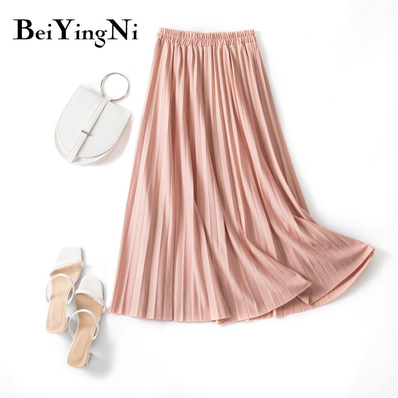Beiyingni Pleated Midi Skirt Elastic High Waist Sweet Casual 2020 Summer Slim Long Preppy Woman's Skirts Maxi Black Skirt Jupe