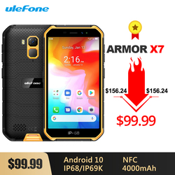 Перейти на Алиэкспресс и купить ulefone armor x7 android 10 rugged waterproof smartphone 5.0-inch 2gb 16gb ip68/ip69k quad-core 4000mah nfc 4g lte mobile phone