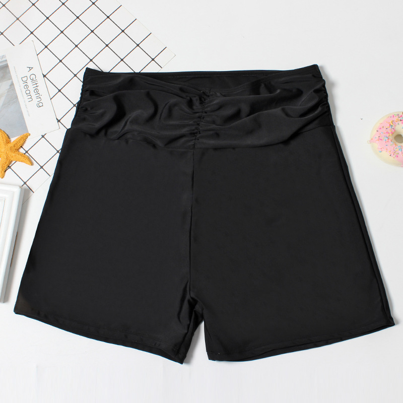 Plus-sized Women's High-waisted Swimming Trunks Comfortable Fat Mm200 Boxer Loose-Fit Swimwear Extra Large 300 Bathing Suit