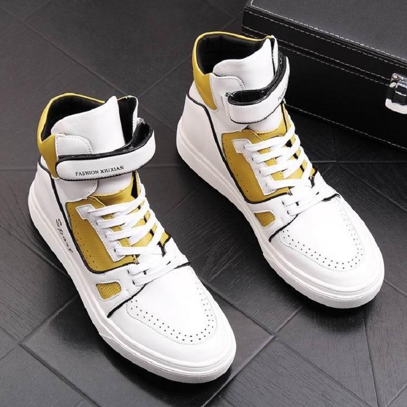 Européen vente chaude hommes haut haut chaussures décontractées concepteur couleur mixte blanc plate-forme loisirs chaussures homme Hip Hop chaussures de rue