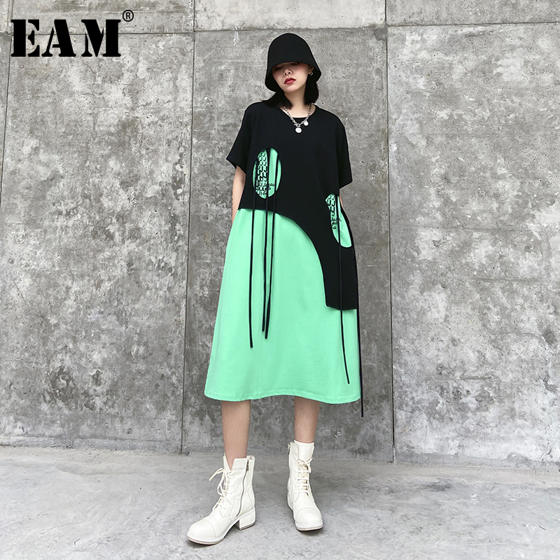 [EAM] Women Green Tassles Split Joint Big Size Dress New Round Neck Short Sleeve Loose Fit Fashion Tide Spring Summer 2020 1T782