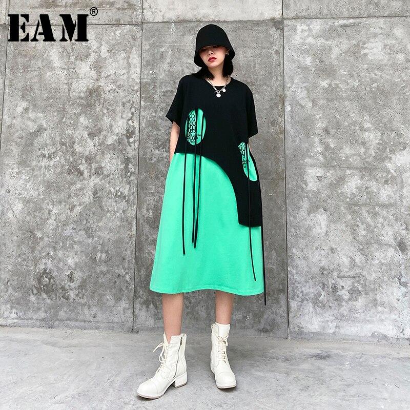 [EAM] Women Green Tassles Split Joint Big Size Dress New Round Neck Short Sleeve Loose Fit Fashion Tide Spring Summer 2020 1T782