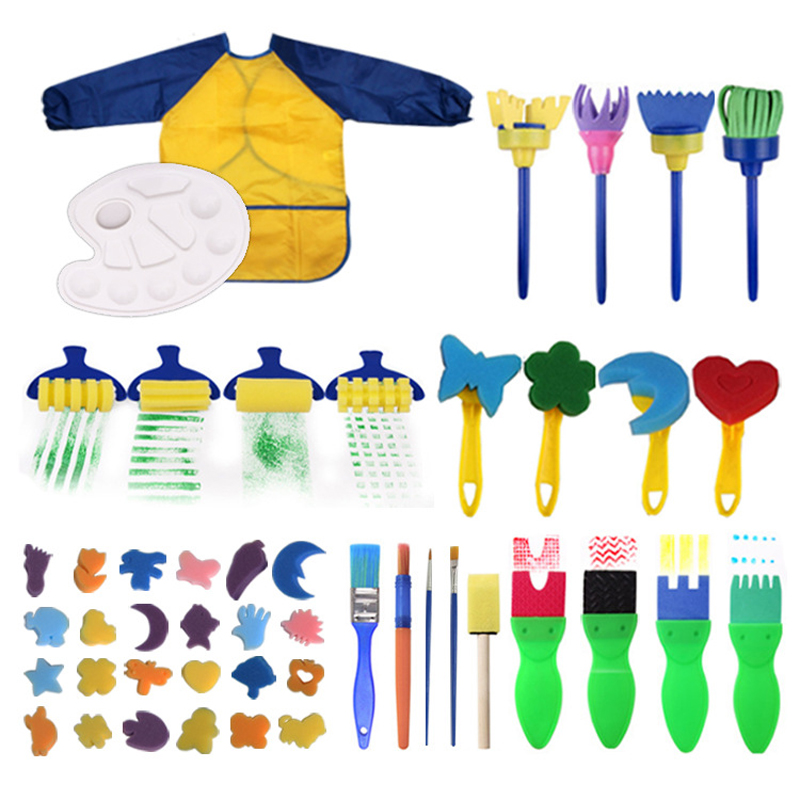 Children Sponge Painting Brushes Set Paint Apron Toys Crafts Kits Toddler For DIY Sponge Paint Brush Drawing Flower Stamp