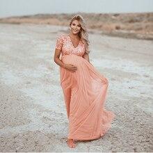 Elegance hamile fotoğrafçılığı sahne gebelik elbise fotoğraf çekimi için Sequins tül hamile kadınlar elbiseler Maxi hamile elbisesi