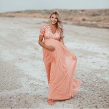 Elegenceคลอดบุตรการถ่ายภาพPropsการตั้งครรภ์สำหรับถ่ายภาพSequins Tulleหญิงตั้งครรภ์ชุดเดรสMaxiชุดคลอดบุตร