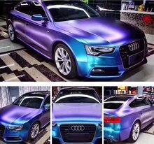 Película protectora de coche, 50x300cm, Perla de camaleón, vinilo azul metalizado mate, película protectora de coche con expulsión de aire, camaleón, pegatina para coche
