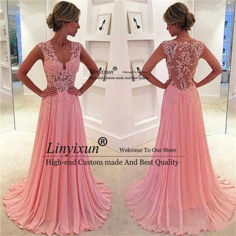 Vintage Sweety Blush Pink A Line Chiffon   Prom     Dresses   Lace Appliques Plunging V neck Sexy Sheer Cap Sleeves Evening   Dresses