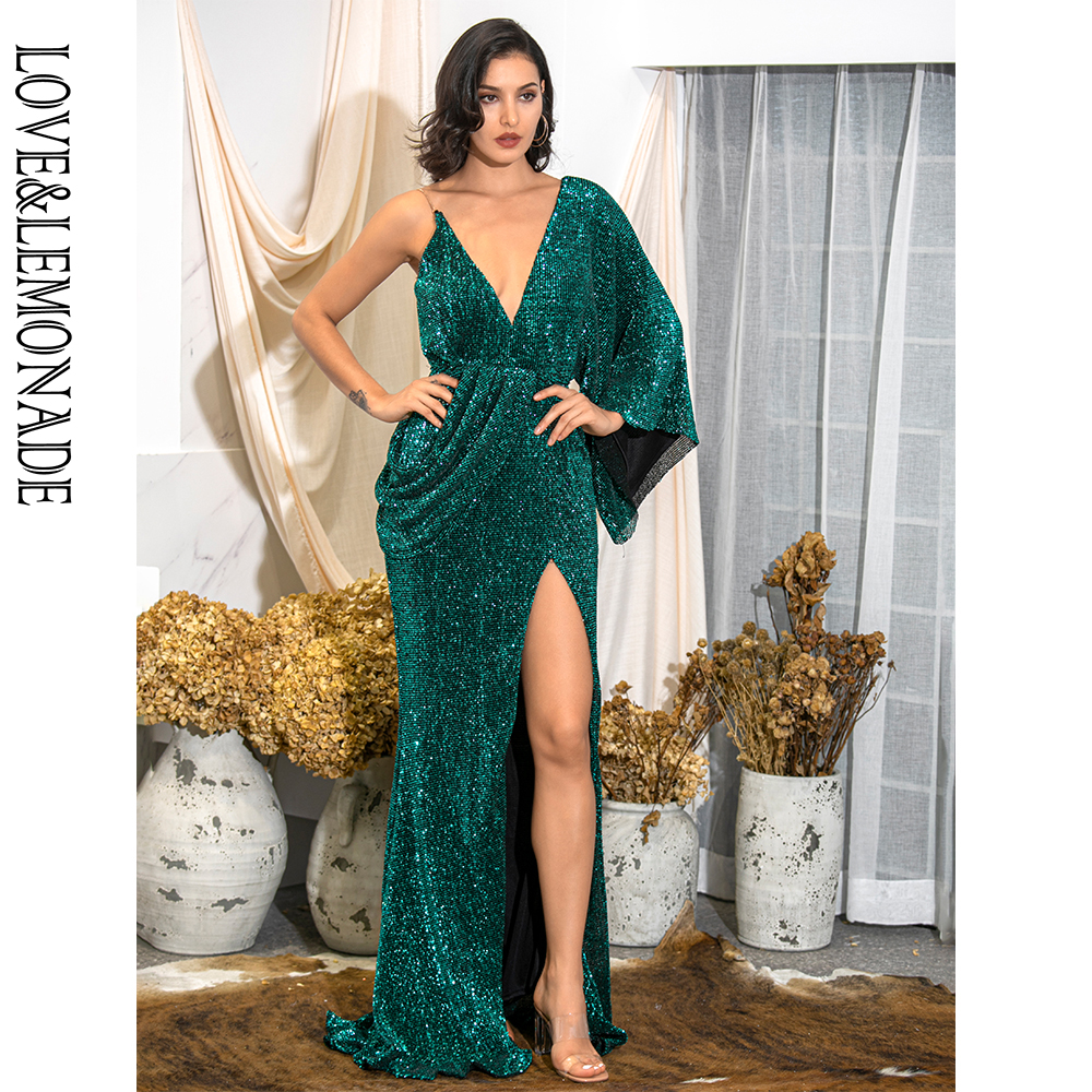 LOVE&LEMONADE Sexy Green V-Neck Single Sleeve Sequins Split Party Maxi Dress LM81848 Autumn/Winter