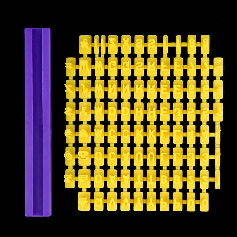 1 PC สีเหลือง Fondant แม่พิมพ์ตัวอักษรตัวเลขแม่พิมพ์เบเกอรี่คุกกี้บิสกิตแสตมป์ Embosser CUTTER เค้ก Fondant DIY แม่พิมพ์