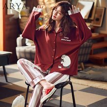 Women Pajama Set With Stripe Pants Summer Cartoon Printed Py