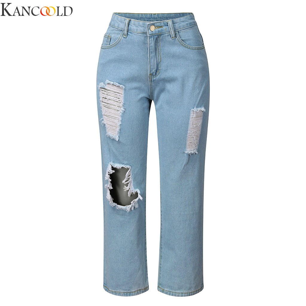 KANCOOLD Women Slim Fit Jeans Casual Trousers For Ladies Blue Ripped High Waist Drawstring Skinny Denim Calf Length Jeans
