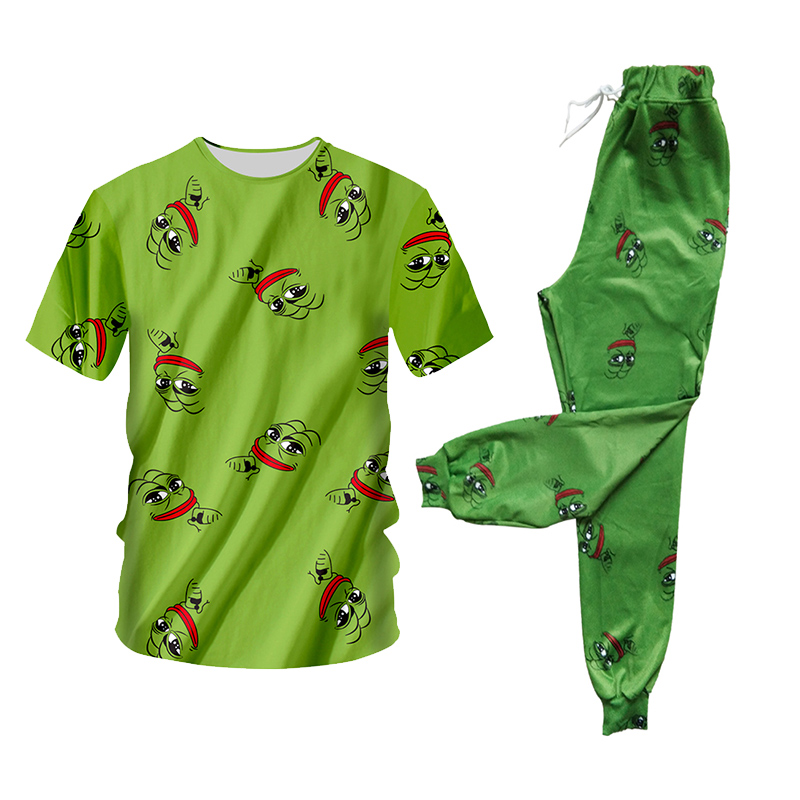 UJWI Pepe Frog Green 3D Hoodies Suits Men's Sweatshirt Joggers Funny Animal Print Set Fall Winter Unisex Tracksuit Pants 5XL