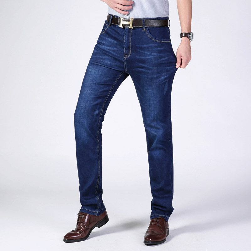2019 Spring And Summer New Style Medium Waist Elasticity Plus-sized Men's Jeans Korean-style Straight Slim Versatile Men's Wear