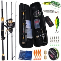 Sougayilang 1.8 2.1m Spinning Fishing Combo 4 Section Carbon Fishing Rod with 13 1BB Fishing Reel and Line Lure Bag Full Set