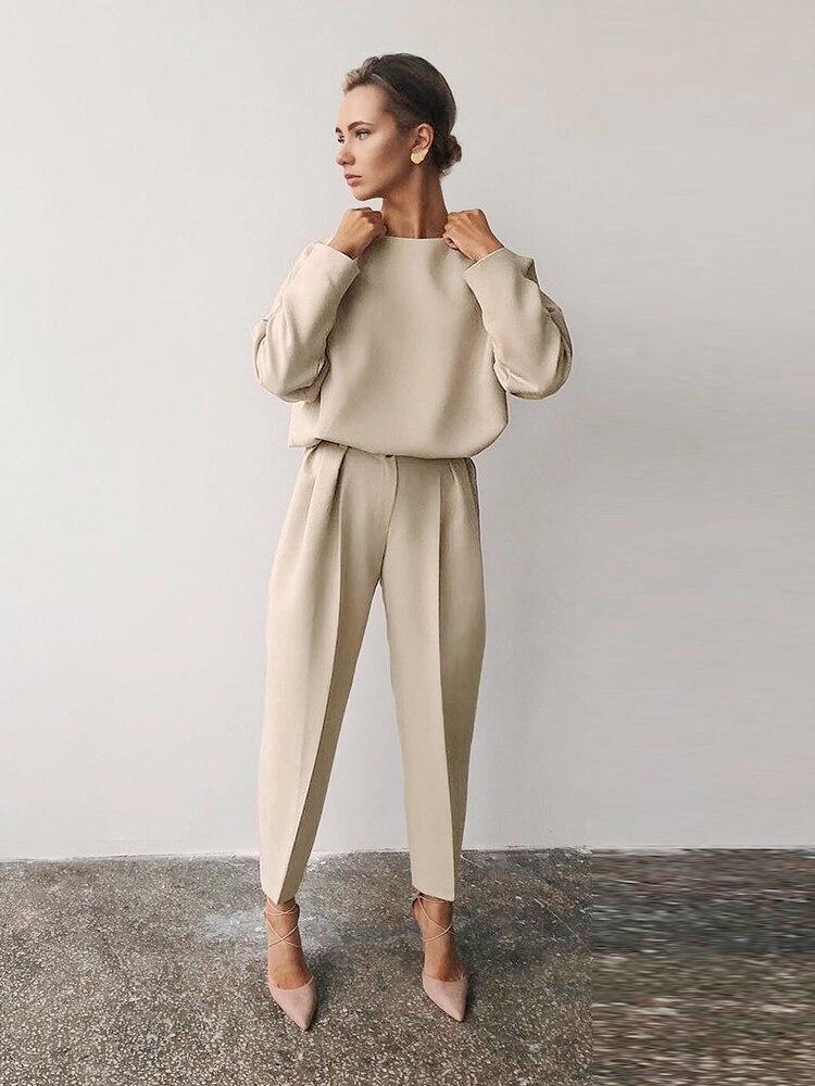 Mnealways18 Brown Trousers Office-Pants Work-Wear Zipper Vintage High-Waist Summer Women
