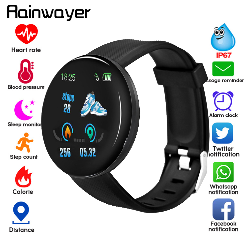 D18 Bluetooth <font><b>Smart</b></font> <font><b>Watch</b></font> Men Women Blood Pressure Smartwatch Sport Tracker Pedometer 116 Plus <font><b>Smart</b></font> <font><b>Watches</b></font> For Android IOS A2 image