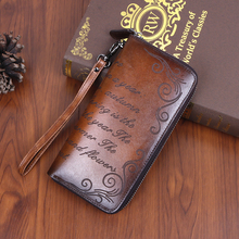 Women Genuine Leather Wallet Long Printing Letter Cloud Fema