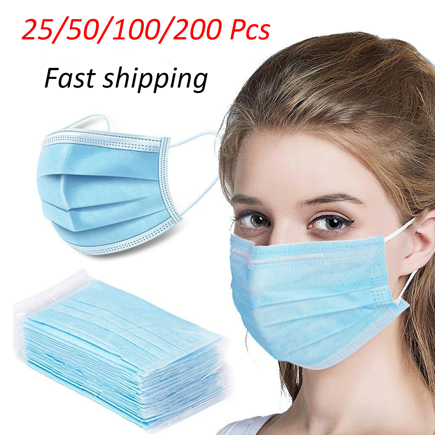 3 Layers Disposable Face Mask-mask Protection Mouth Face Cover Non-Woven Dust Protective Maskmask Earloop Breathable Facemask