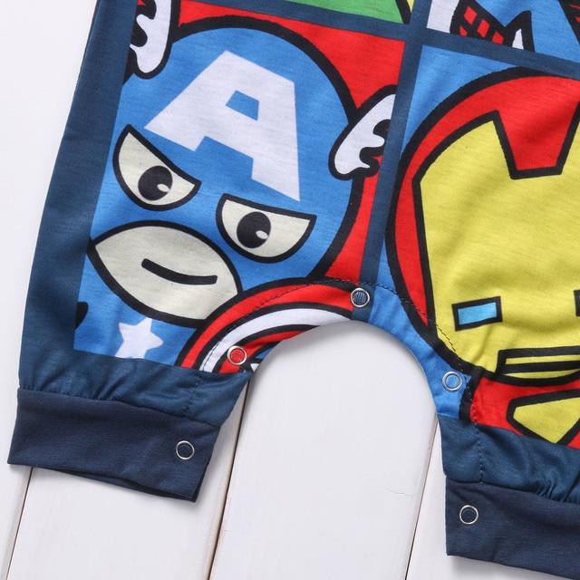 Newborn Summer Clothes Cartoon Print Spider-Man Iron Man Sleeveless Baby Boy Girl Romper Cotton Jumpsuit Clothing 0-24M 5