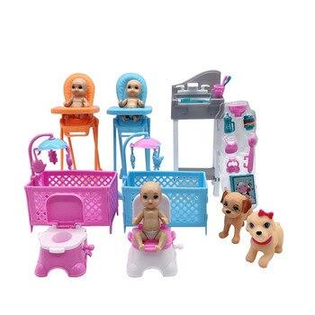 2020 Latest Fashion Barbies Accessories Crib + Toilet Bedroom Amusement Park Combination Plastic Children Interactive Toys