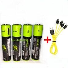 ZNTER 1,5 V AAA перезаряжаемая батарея 600mAh USB перезаряжаемая литий-полимерная батарея Быстрая зарядка через кабель Micro USB