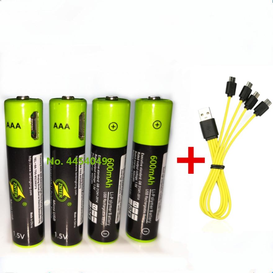 605.72руб. 30% СКИДКА|ZNTER 1,5 В AAA перезаряжаемая батарея 600 мАч USB перезаряжаемая литий полимерная батарея Быстрая зарядка с помощью кабеля Micro USB|Подзаряжаемые батареи| |  - AliExpress