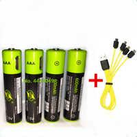 ZNTER 1,5 V AAA batería recargable 600mAh USB batería recargable de polímero de litio carga rápida con Cable Micro USB