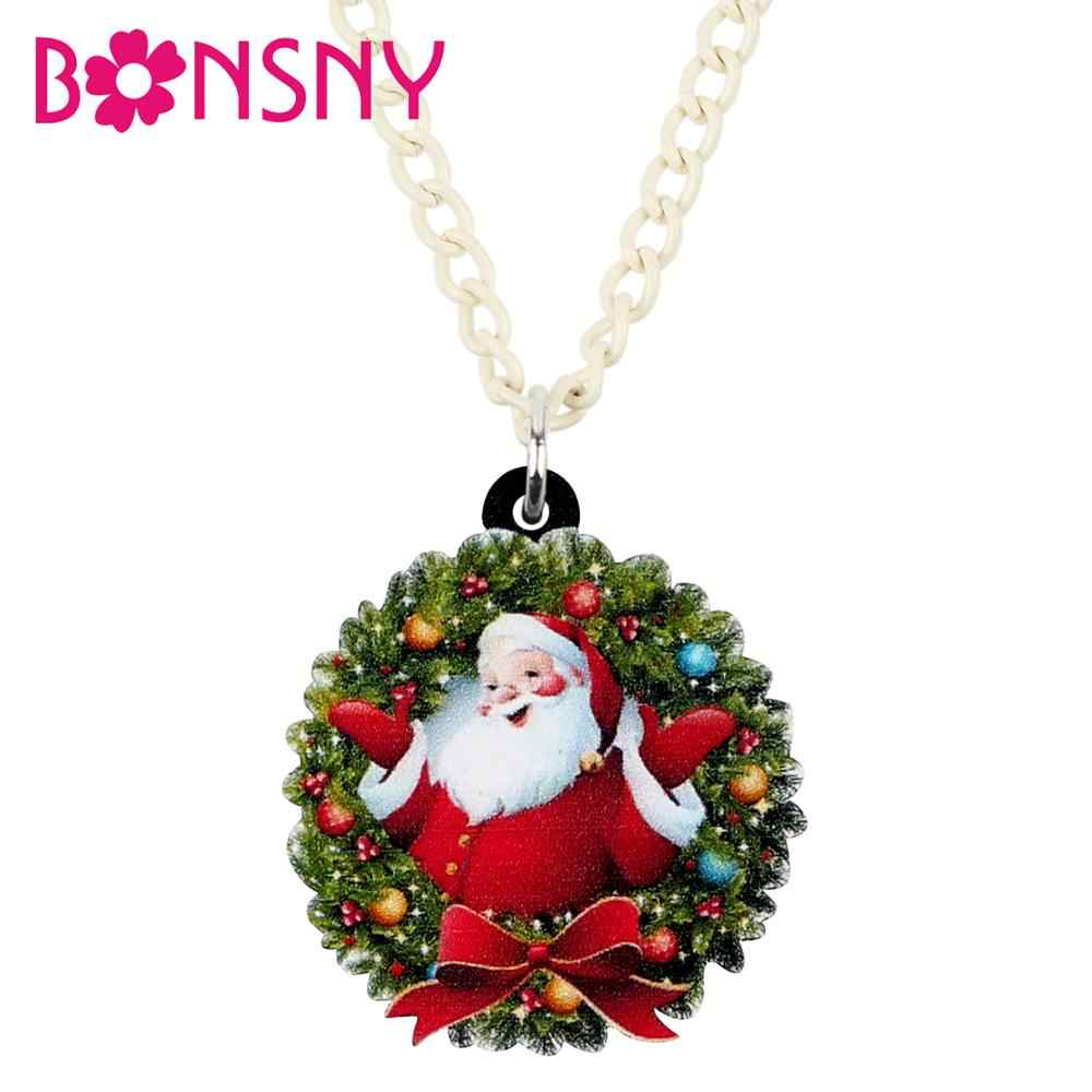 Bonsny Acrylic Christmas Santa Claus Bow-knot Garland Necklace Choker Festival Accessory For Women Lady Girls Teens Gift 2019New