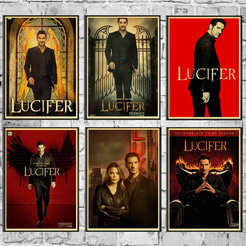 Vintage Poster Ameican TV Lucifer Retro Poster Kraft Paper Wall Stickers  For Home/Room/Bar Decor Painting