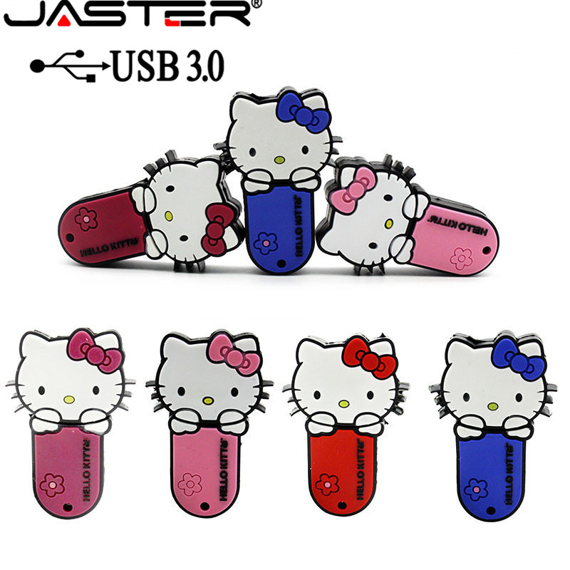 JASTER 3.0 Hello Kitty Usb Flash Drive Lovely Pendrive 4gb 8gb 16gb 32gb 64gb Memory Stick U Disk Usb 3.0 Flash Disk Thumb Drive