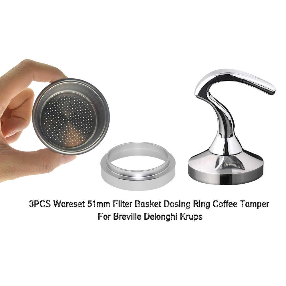 Breville Delonghi filtre Krups 51MM filtre sepeti 2-Cup kahve sabotaj dozaj yüzük seti Breville Coffeeware doğum günü hediyesi 3 adet/takım