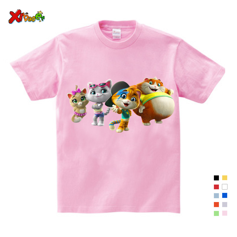 Toddler Child 44 cat Cartoon Print T-shirt Summer Short Sleeve T-Shirt Kids Cotton White Black T Shirts For Baby Boy TShirt Girl