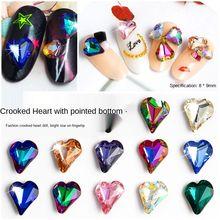 10 шт/пакет кривое сердце Кристаллы Стразы для ногтей ab цветные