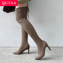 QUTAA 2020 Sexy Spitz Stretch Flock Casual Frauen Schuhe Fashion Square High Heel Lace Up Über Das Knie Hohe stiefel Size34-39(China)