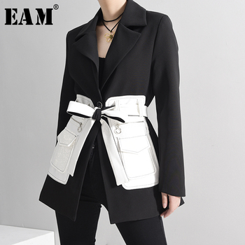 [EAM]  Women Black Contrast Color Pocket Blazer New Lapel Long Sleeve Loose Fit  Jacket Fashion Tide Spring Autumn 2020 1S39401 spring autumn 2020 women tops green plaid split big size blazer new lapel long sleeve loose fit jacket fashion tide korean