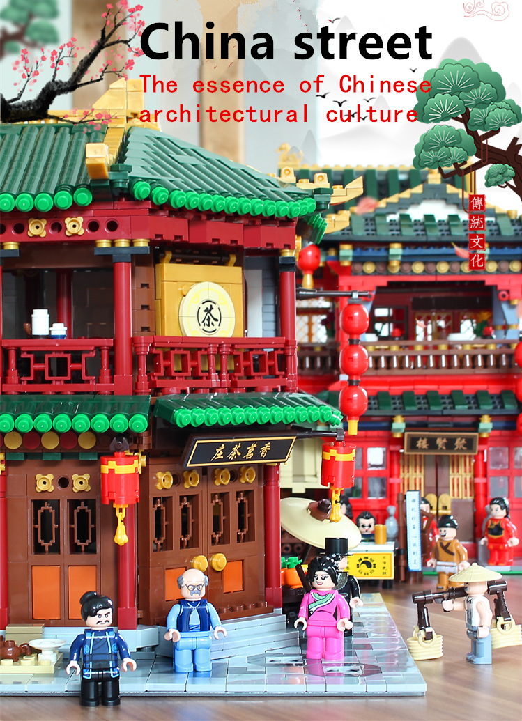 XingBao LegoEDS Creator City Street Chinese Architecture The Tea House Model Building Kit Educational Kids Toys Block Brick Gift