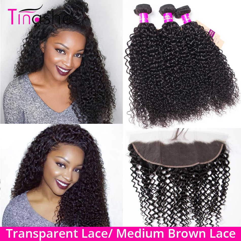 Tinashe Hair Curly Bundles With Frontal Remy Brazilian Human Hair 3 Bundles With Closure Transparent Lace Frontal With Bundles