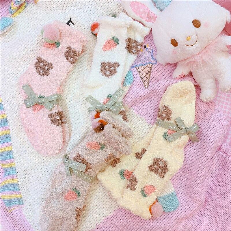 1Pair Winter Coral Velvet Warm Socks High Quality Cartoon Bear Socks For Girls Socks