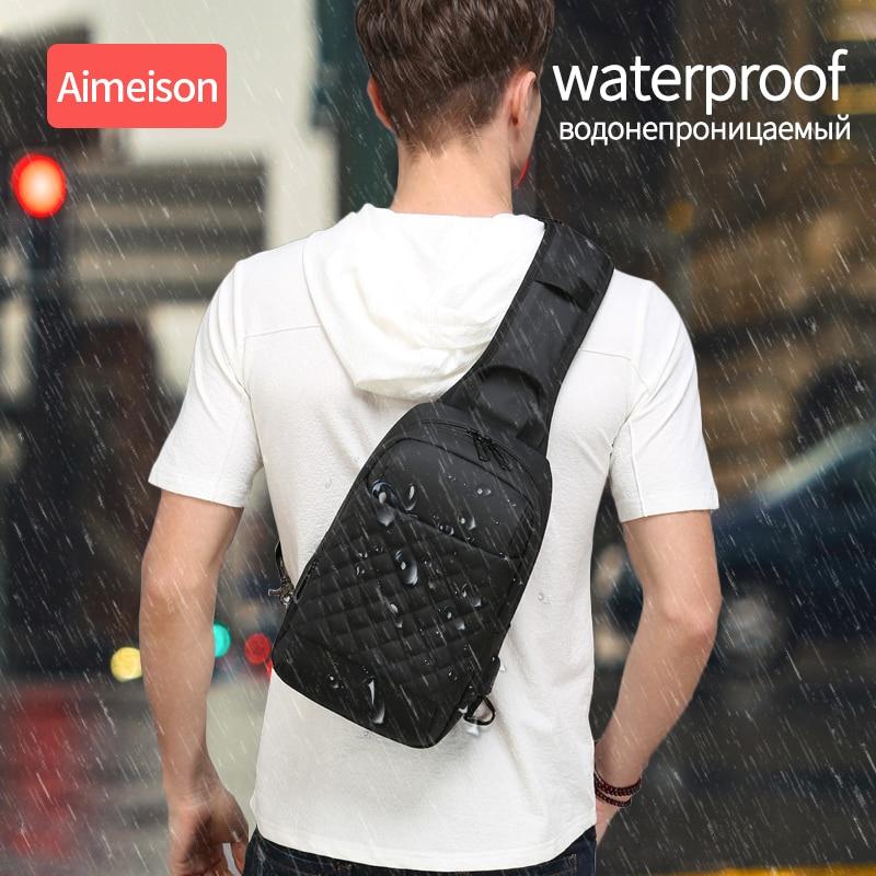 Image 5 - Multifunction Crossbody Bags Men USB Charging Chest Pack Short  Trip Messengers Chest Bag Water Repellent Shoulder Bag Male  -