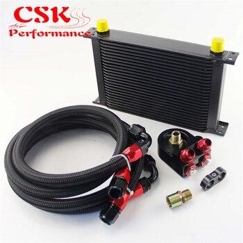 Универсальный 25 ряд 10AN Алюминий радиатор трансмиссионного масла двигателя + черный шланг комплект