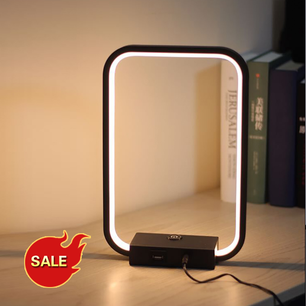 Lamplo Square LED Table Lamp Modern Touch Dimmable Desk Lamp Minimalist Bedside Lamp Indoor Decor Eye Protect Reading Light