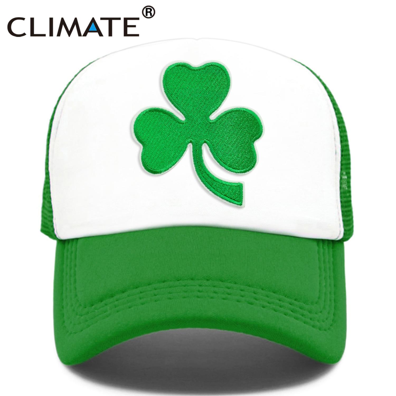 CLIMATE Shamrocks Trucker Cap St.Patrick's Day Green Cap Hat Ireland Irish Lucky Shamrocks Cap St.Patrick Mesh Cap Hat For Irish